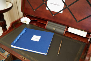 Closeup of Desk with Memories Book