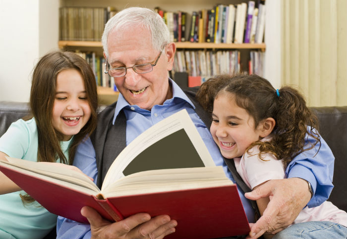 Grandfather Reading to Grandchildren - Decorative